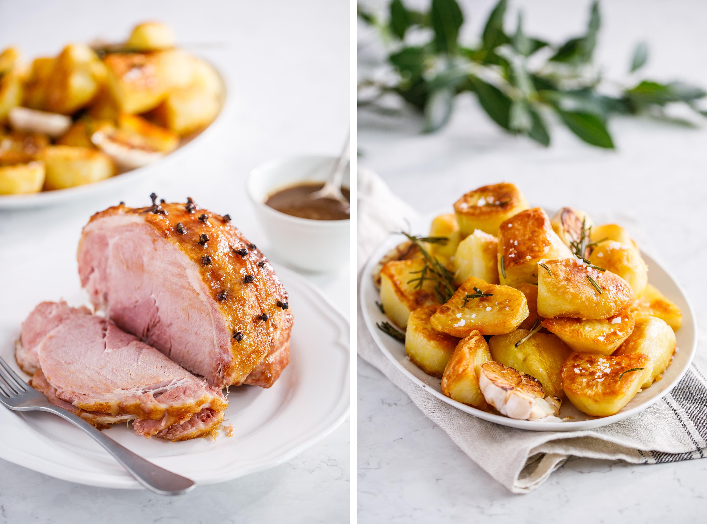 Recipe photography glazed ham and roast potatoes.