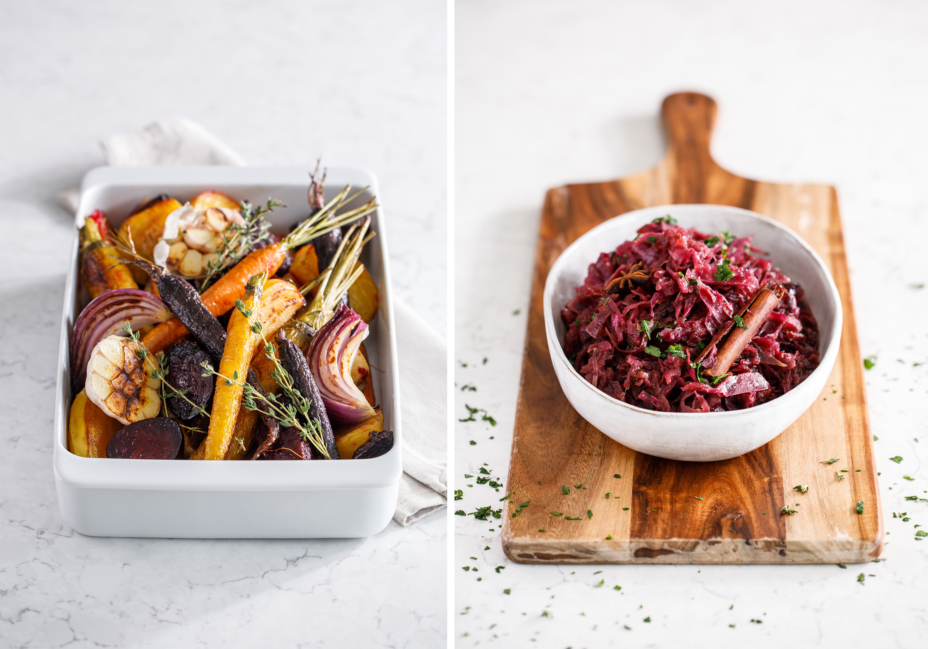 Roasted winter veg and red cabbage recipe photography